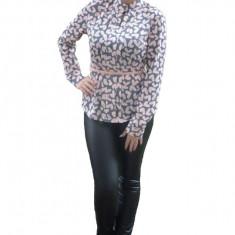 Bluza casual de culoare roz-gri cu maneca lunga si fronseuri in fata