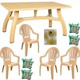 Set mobila gradina King masa 80x140 cm cu 4 scaune Milas culoare bej,4 perne scaun,Fata de masa 150x220cm B001131 Raki