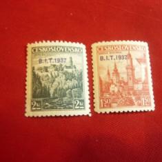 2 Timbre Cehoslovacia 1937 Uzuale cu supratipar BIT 1937