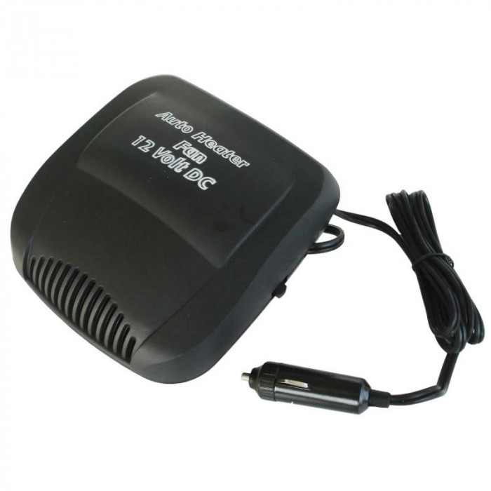 Aeroterma si ventilator auto, 150 W, 12 V, Negru