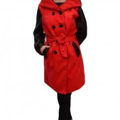 Palton rafinat , bicolor rosu-negru cu inserti de piele