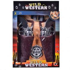 Set de jucarie pentru copii, model 2 arme de cowboy cu husa si insigna