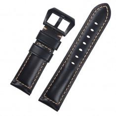 Curea piele compatibila Samsung Galaxy Watch 46mm, telescoape Quick Release, 22mm, Negru