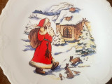 Portelan Hutschenreuther - Sarbatori Craciun - mos craciu  vintage - semnata