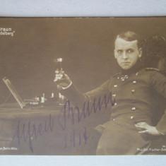 Poza veche cu Autograf: Alfred Braun, Actor si Regizor renumit, semnat 1917