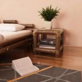 Noptieră, 40 x 40 x 40 cm, bambus, maro închis