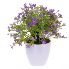 Planta Artificiala cu Flori Mov in ghiveci alb Rezistente la umiditate Aspect natural pentru interior sau exterior D15cm H totala 24cm