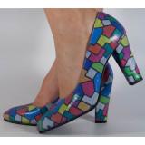 Pantofi multicolori piele naturala (cod 189), 34, 35, 40