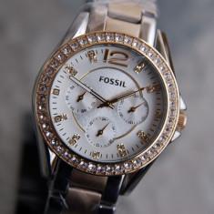 Ceas FOSSIL Riley FS3204 bicolor,multifunctional,dama,NOU, Elegant, Quartz, Otel
