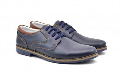 Pantofi barbati casual din piele naturala - DANY ALBASTRU foto