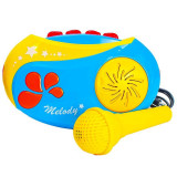 Casetofon cu microfon, cu baterii, albastru