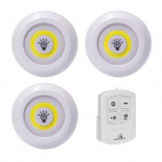 Set 3 lampi LED, 3 W, timer, telecomanda