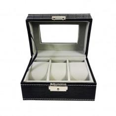 Cutie pentru 3 ceasuri din Piele Ecologica Neagra cu Imprimeu Crocodil WZ4344