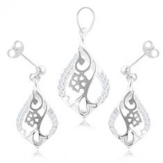Set din argint 925, cercei și pandantiv - floare într-un contur de lacrimă, zirconii transparente