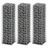 VidaXL Set gabioane, 3 buc, sârmă galvanizată, 25 x 25 x 100 cm