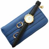 Cumpara ieftin Pachet portofel elegant de dama - albastru regal + ceas elegant de dama slim, model clasic, curea neagra