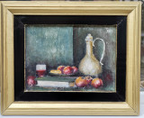 Tablou vechi Natura moarta cu fructe pictura ulei inramata 44x53cm, Natura statica, Altul