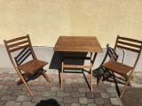 Masa cu doua scaune pliabile,germane din lemn