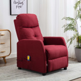 VidaXL Fotoliu de masaj rabatabil, roșu vin, material textil