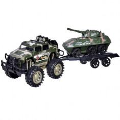 Set jucarie interactiva pentru copii,, model jeep militar cu remorca si tanc, 52 cm