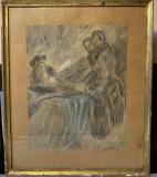 Ion Vâslan- ilustratie cu creioane, Scene gen, Pastel, Altul