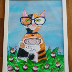 """Tablou pictura acrilica """"Catte Latte"""""""