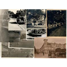 Lot 8 fotografii vechi cu autovehicule, masini de epoca