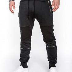Pantaloni pentru barbati de trening negru fermoare decorative banda jos cu siret bumbac p469