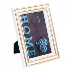 Rama foto, model cadru alb/auriu, 10×15 cm