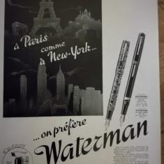 Publicitate stilou WATERMAN, original, 1939, 38 cm x 28cm
