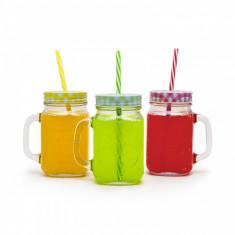 Pahar de sticla, cu capac si pai - 450 ml, 4 culori Best CarHome
