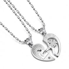 Pandantiv /  Lantisor pt cuplu I Love You lacat,cheita si trifoi in inima silver