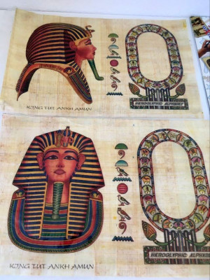 *DD Set 2 foi papirus egipten genuin + semn de carte (suvenir Egipt) foto