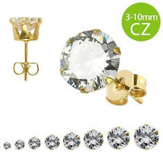 Cercei aurii din oțel cu zirconiu - Dimensiune stras: 6 mm