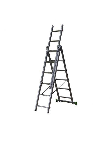 Scară pliabilă, 3 tronsoane, 3x6 trepte, lungime 1,75-3,15 m, CLT 3