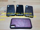 Husa silicon negru  cu piele pe exterior iPhone X calitate si ieftin la pret