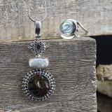 Pandantiv din argint, cu scoica si perla