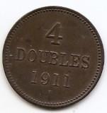 Guernsey 4 Doubles 1911 H - Bronz, 26.1 mm KM-5