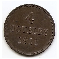 Guernsey 4 Doubles 1911 H - Bronz, 26.1 mm KM-5