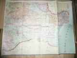Harta Romaniei 1/4 partea S-E ,dim.=77x58cm ,Judetele : Constanta ,Tulcea ,Ialom