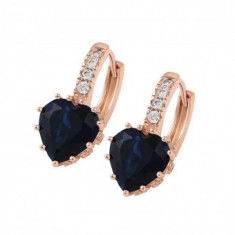 Cercei Heart Brilliant Blue Sapphire