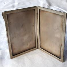 RAMA FOTO argint MASIVA veche MARE de BIROU cu 2 LOCASURI sau PORTICOANE rara