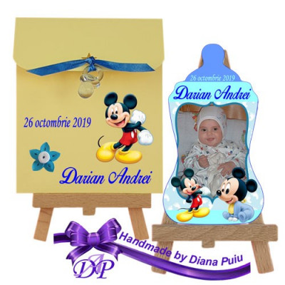 Marturii botez magnet biberon Mickey Mouse Handmade by Diana Puiu MBBM 3 foto