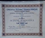 Actiune 1923 - Creditul tehnic transilvanean - Sibiu - titlu - actiuni