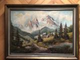 Tablou,pictura in ulei pe panza,peisaj in Tirol,spaclu, Peisaje, Altul