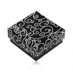 Cutiuță neagră pentru cercei sau pandantiv, model cu spirale albe