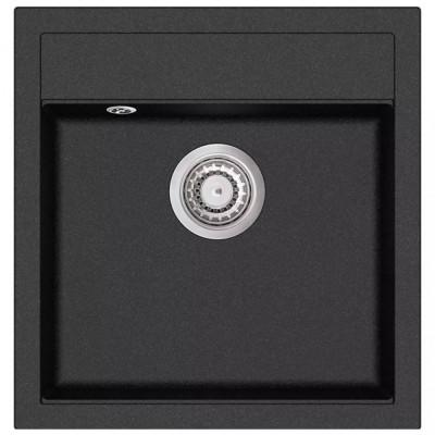 vidaXL Chiuvetă din granit de bucătărie cu un bazin, Negru foto