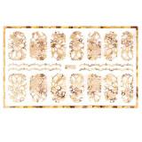 Abtibild unghii cu modele florale aurii H005