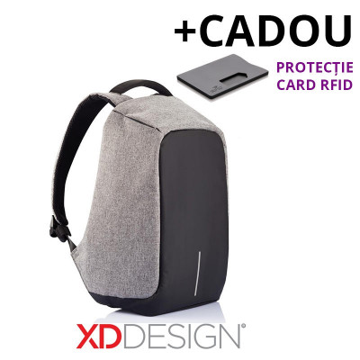 Rucsac laptop Bobby Original antifurt gri - original XD Design + Cadou foto