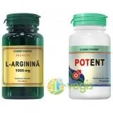 L-Arginina 1000mg 60tb + Potent 30cps Pachet 1+1